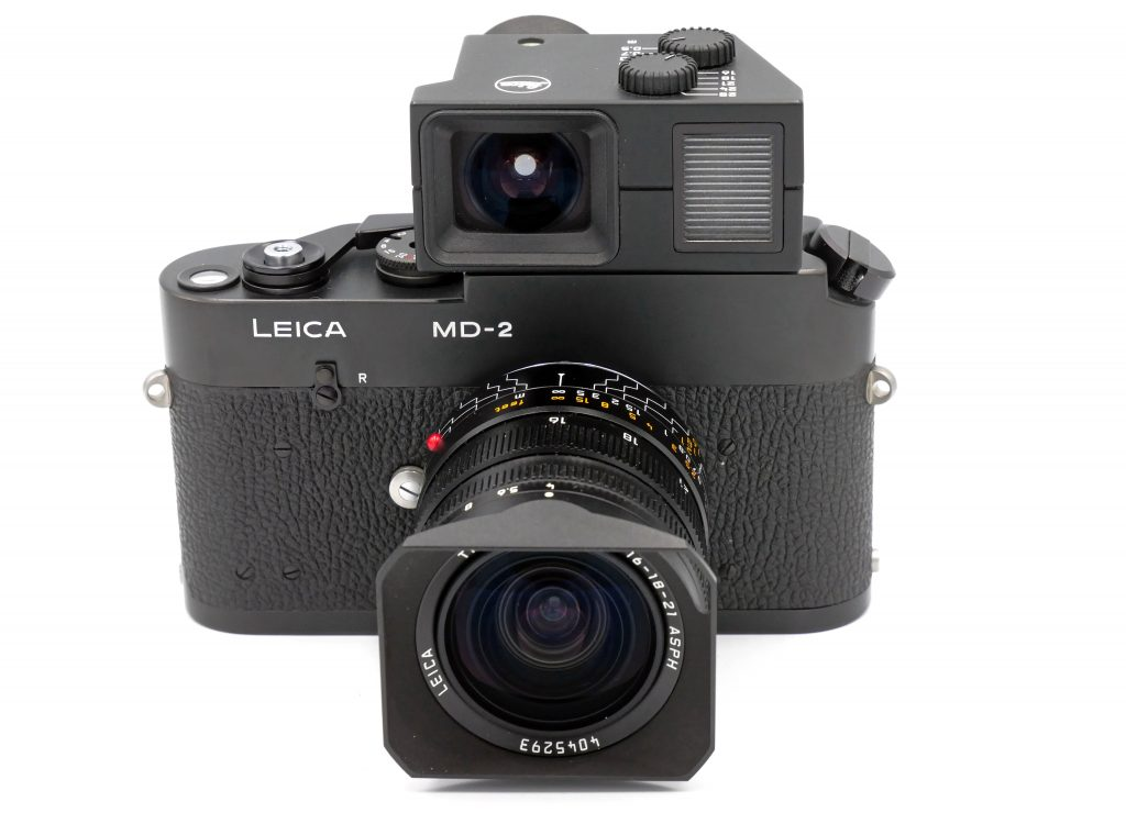 Leica MD-2 camera, lens, lens hood and viewfinder
